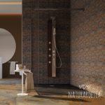 Bagno in ardesia naturale multicolor e nero con pareti serie Mosaico e piastrelle 120 x60 sul pavimento più vassoio doccia nera CRIO